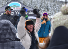 eremy Brooks celebrates a first-place finish in advanced downhill skiing.
