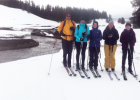 "(L-R) Dr. Jeff Strickler, Maya Johnsen Livvy Milner, LPHS professor Patty Hamblin and Noelle Miller. ""An ice dam broke loose and cleared ice and snow in a wide swath – the students discussed this process on the land,"" Rick Graetz explained."