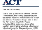 Wilson's ACT cancellation letter. COURTESY CARLY WILSON