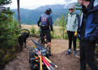 "Patrick Rooney, accompanied by his dog, Juneau, had a trailer of sorts attached to his bike, carrying a variety of tools. Many people on Mountain to Meadow on Sept. 19 had done trail maintenance before, including some Terraflow folks. Rooney encouraged volunteers to ask questions and not go all in with an axe right away. ""A lot of times less can be more, and again it's easy to get overzealous, but ultimately we're going to make the trail better,"" he said."