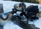Twisted metal and burnt-up propane tanks after over 2,000 gallons of propane ignited just south of Big Sky on Jan. 6. PHOTO COURTESY OF BIG SKY FIRE DEPARTMENT
