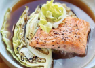 Steelhead Trout, creamy umami barley with shiitake mushrooms, charred cabbage wedge, topped with ginger pickled cabbage and ginger dashi miso broth. PHOTO COURTESY OF GRACE GANOOM-GREIN