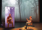John Zirkle, WMPAC executive director, and Andrew Blessing, WMPAC tech director, experimenting with socially distanced theater spring 2020. Photo COURTESY JOHN ZIRKLE